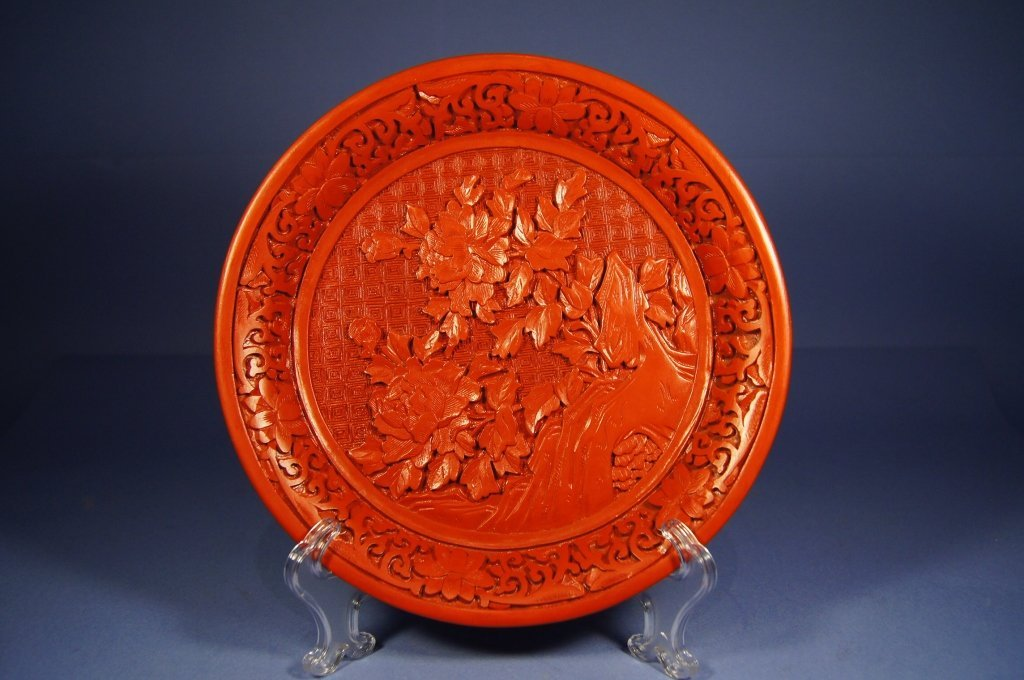5: Chinese antique cinnabar lacquer ware tray