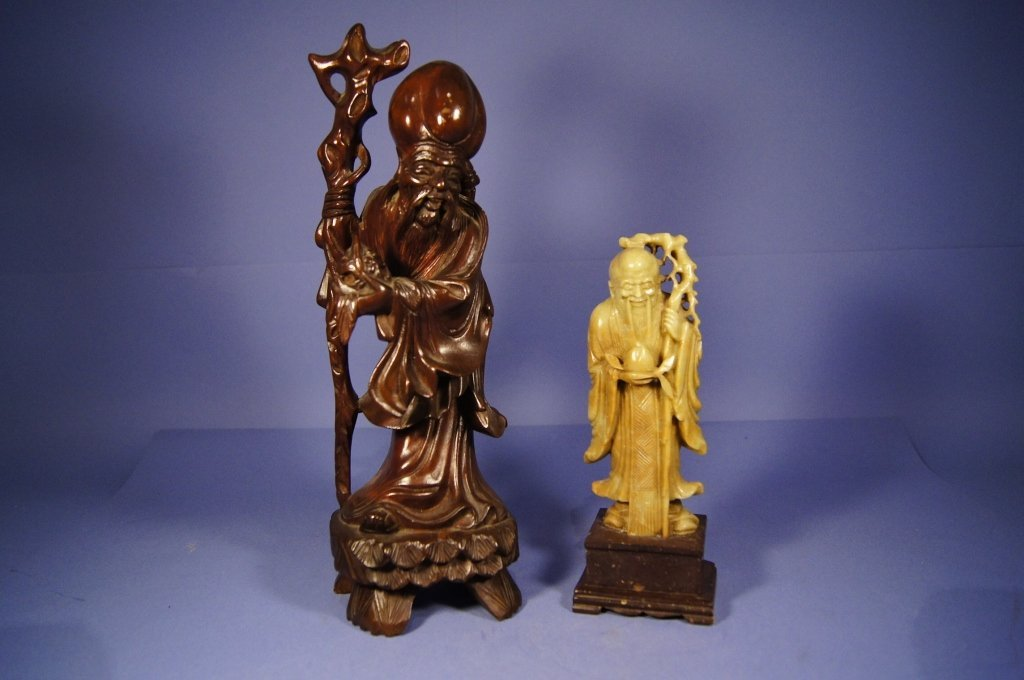 8: Chinese wooden and shoushan stone statue
