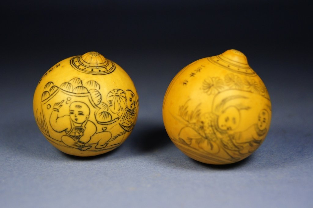 10: Pair of Chinese wooden carved balls