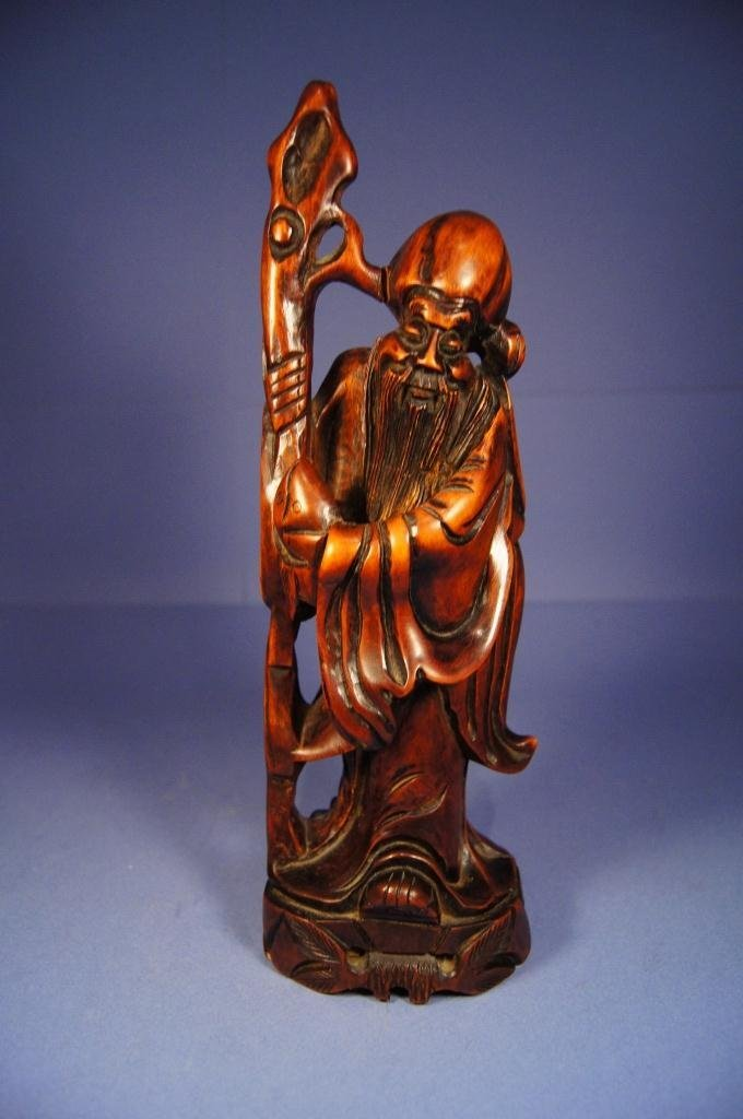 12: Chinese antique wooden wise man statue