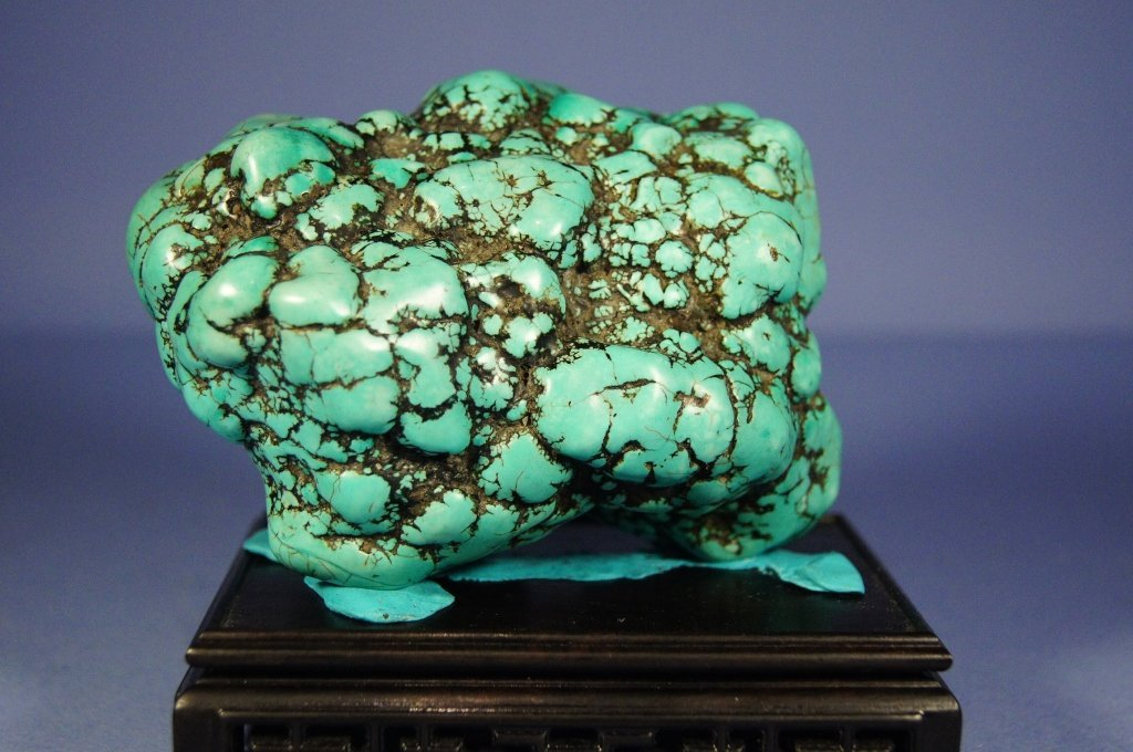 21: Chinese antique turquoise boulder with stand