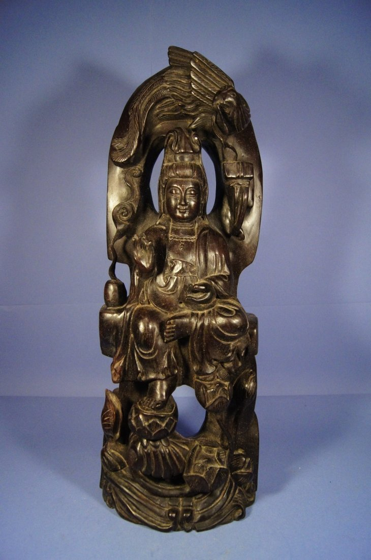 12A: Chinese antique Zitan wood carved statue; Kwan Yin