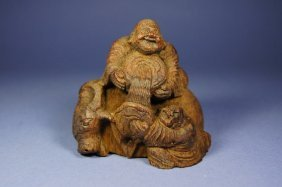 Chinese Antique Bamboo Carved Buddha; 19th C
