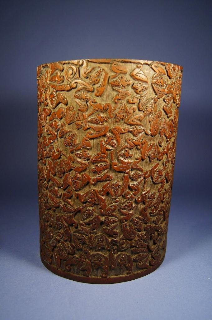 4: Chinese antique bamboo brush pot; bats