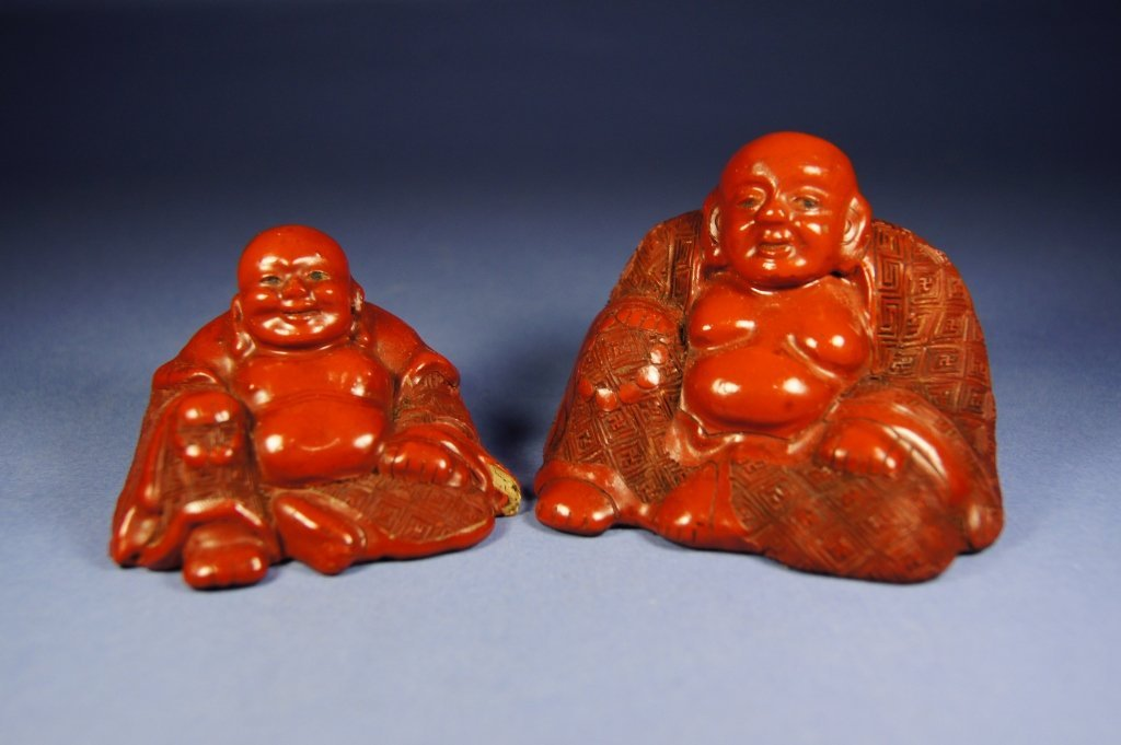8: Pair of Chinese cinnabar happy Buddha