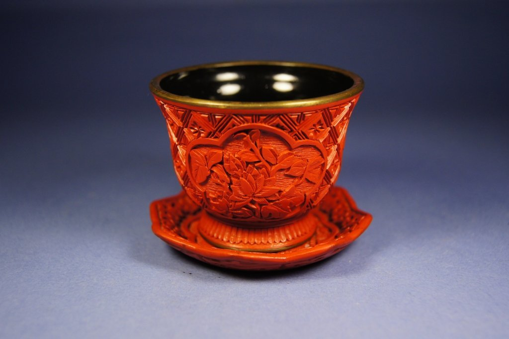 10: Chinese antique cinnabar wine cup and plate