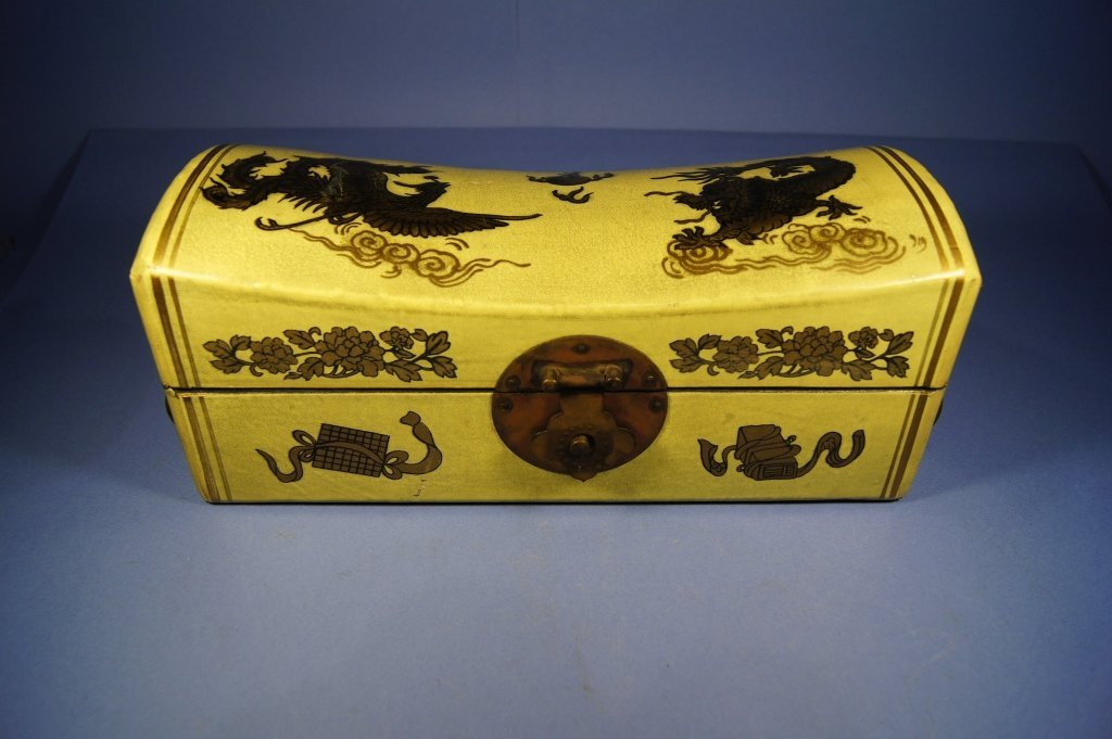 11: Chinese antique Leather covered pillow box