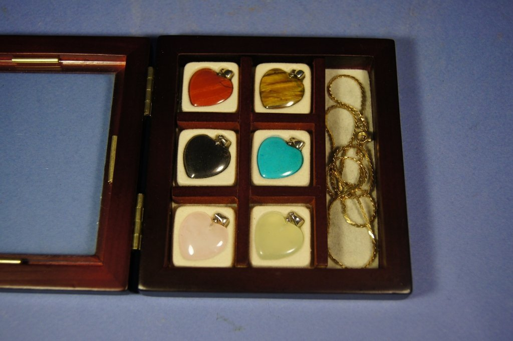 12: Set of Chinese Gem stone pendant with chain