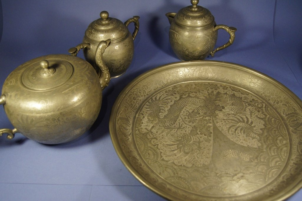 17: Set of Chinese antique Pewter wares