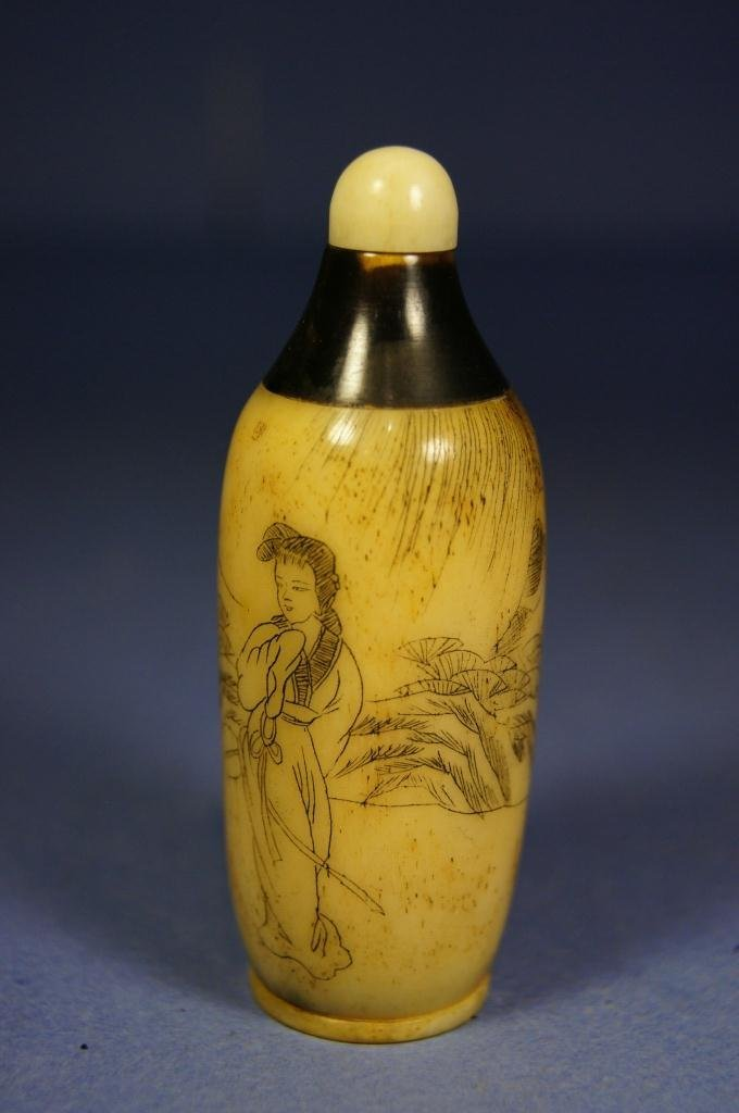 22: Chinese antique Horn carved snuff bottle