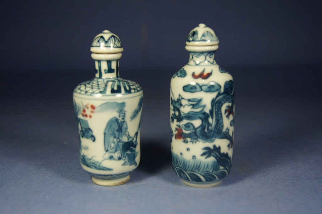 27: Pair of Chinese antique porcelain snuff bottles
