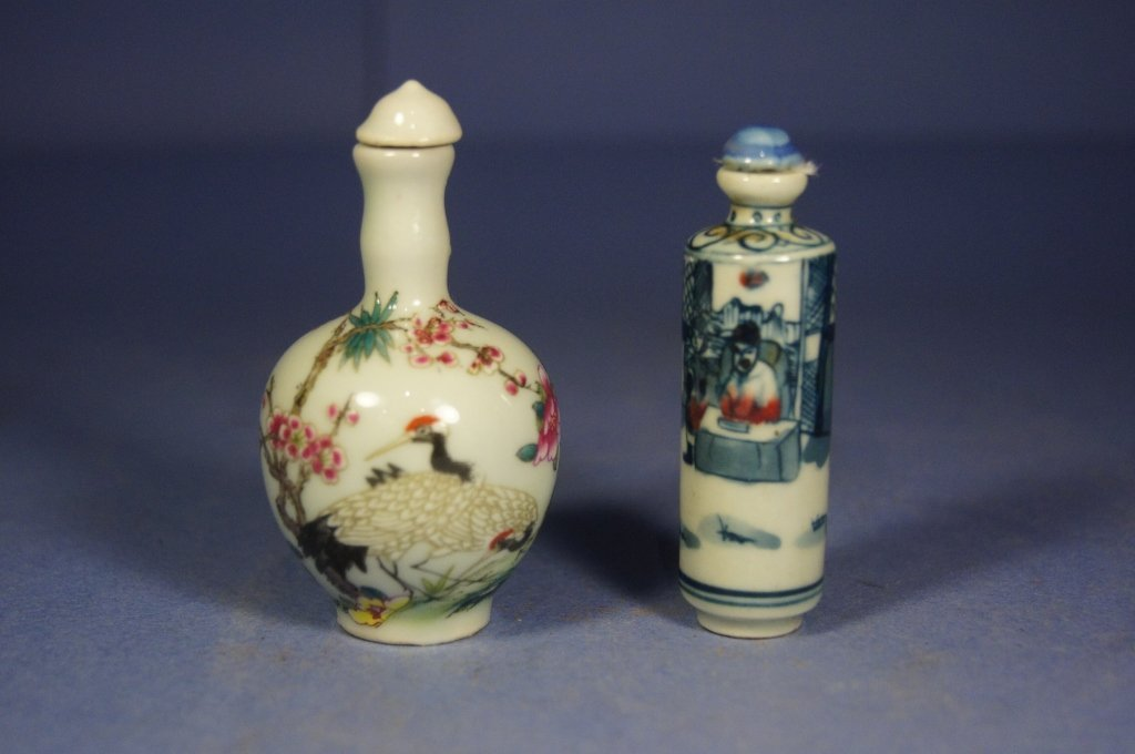 30: Two Chinese antique porcelain snuff bottles