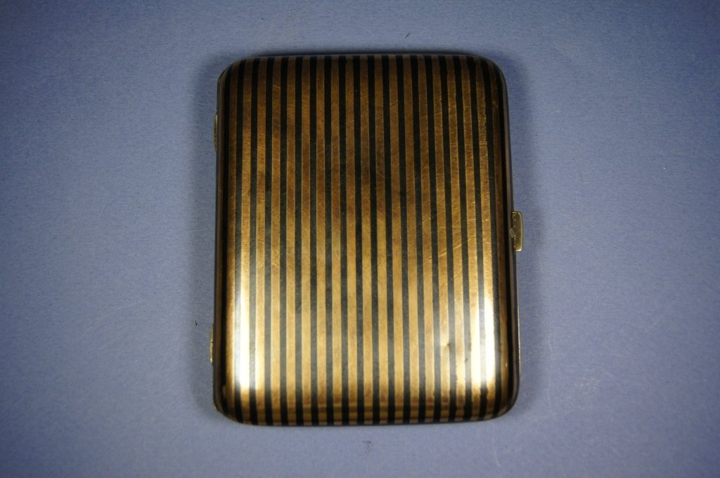 36: Chinese antique silver and Gold line cigar case