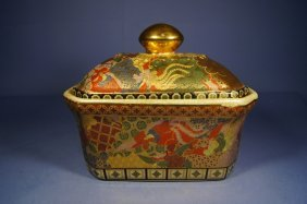 Japanese Antique Export Satsuma Bowl With Cover