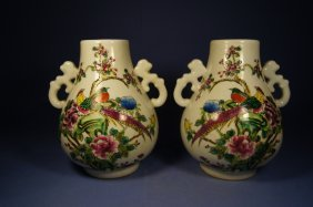 Pair Of Chinese Antique Porcelain Vases
