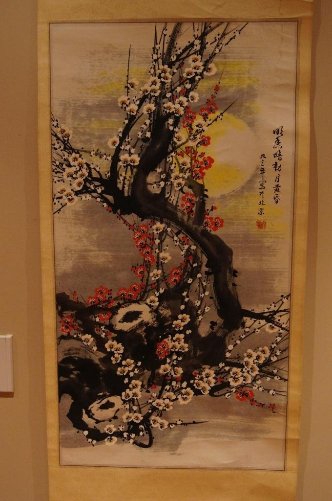 162: Chinese antique scroll water color on paper