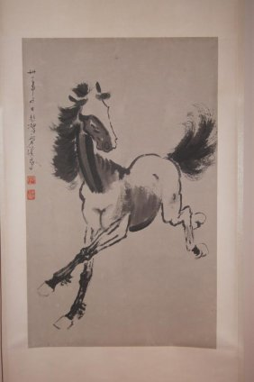 6: Chinese antique water color on paper; Qi Bai Hong