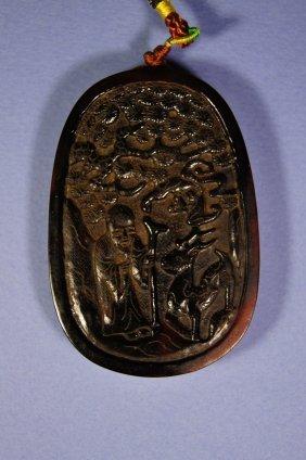 144A: Chinese antique Rhinoceros pendant