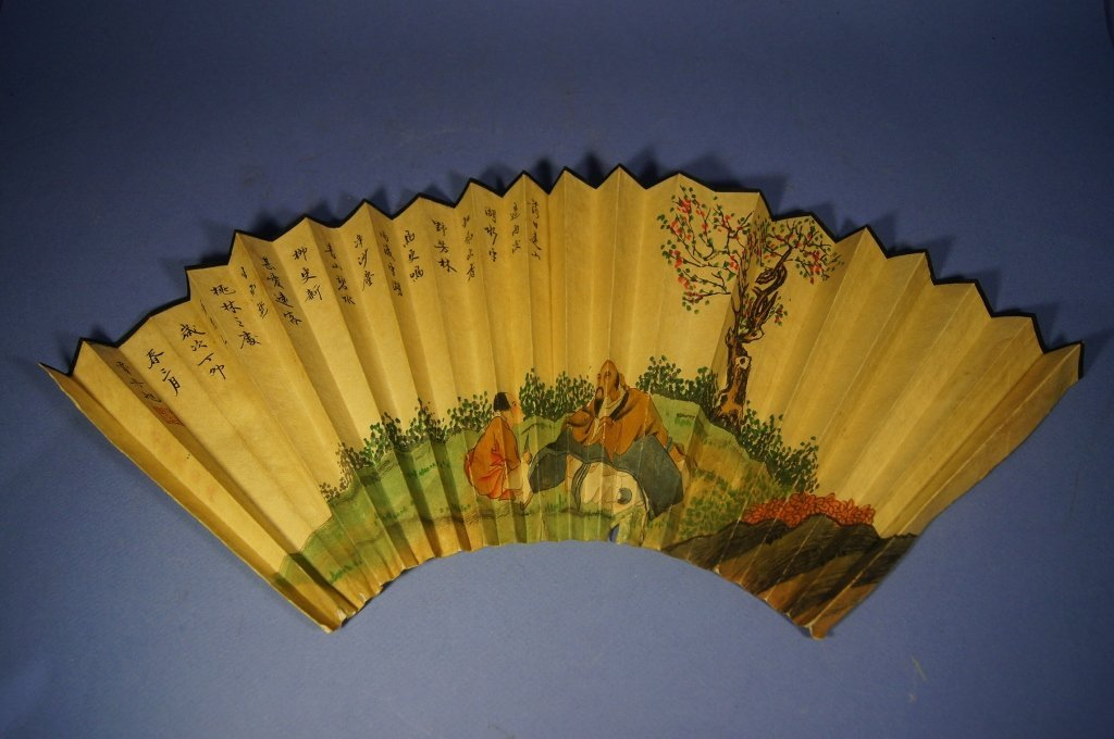 6: Chinese antique watercolor fan painting