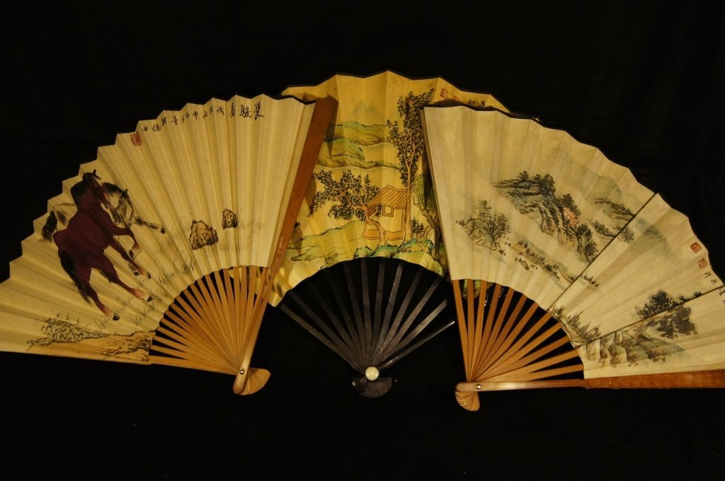 13: Three Chinese antique water color Fans
