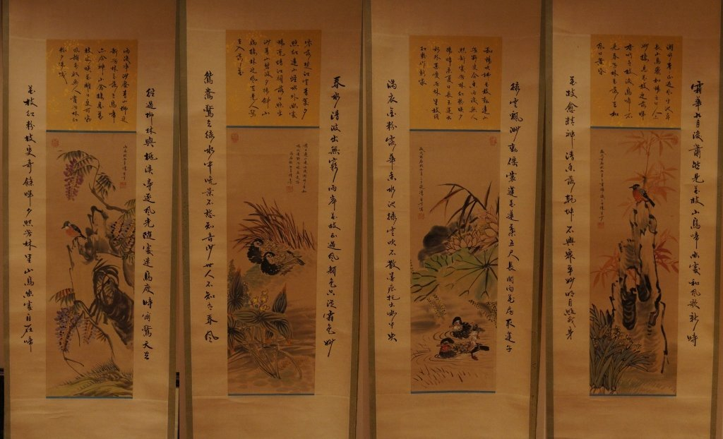 14: Set of Chinese antique water color scrolls