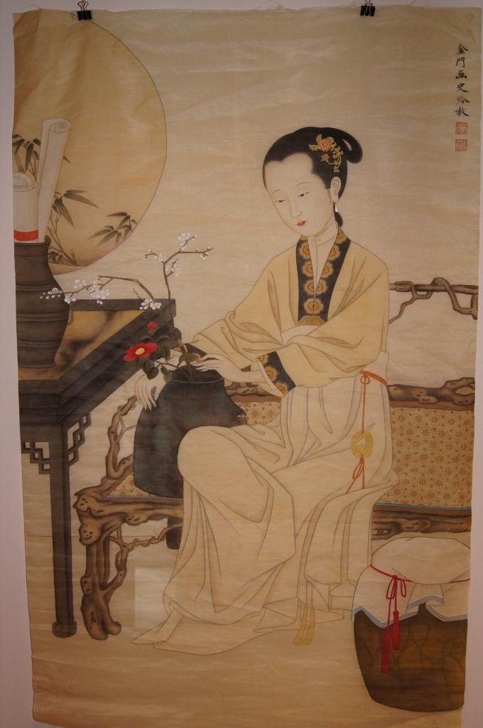 17: Chinese antique Large water color on Silk
