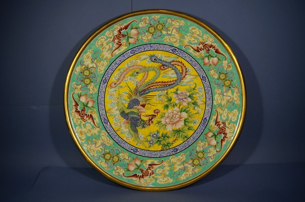 199: Chinese antique hand painted Bronze plate
