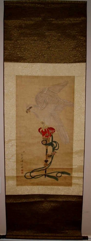 Chinese antique hanging scroll in watercolor