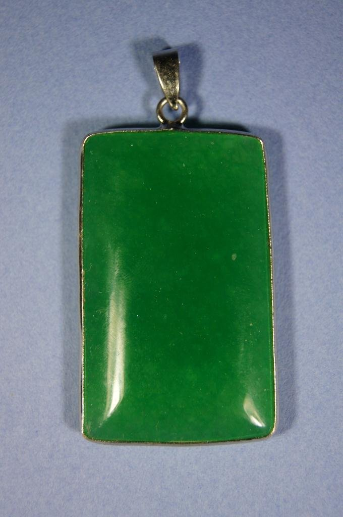 Chinese antique Icy apple green jade pendant