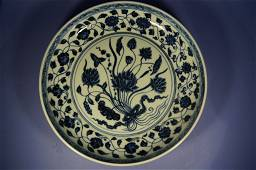Chinese antique blue and white porcelain charger