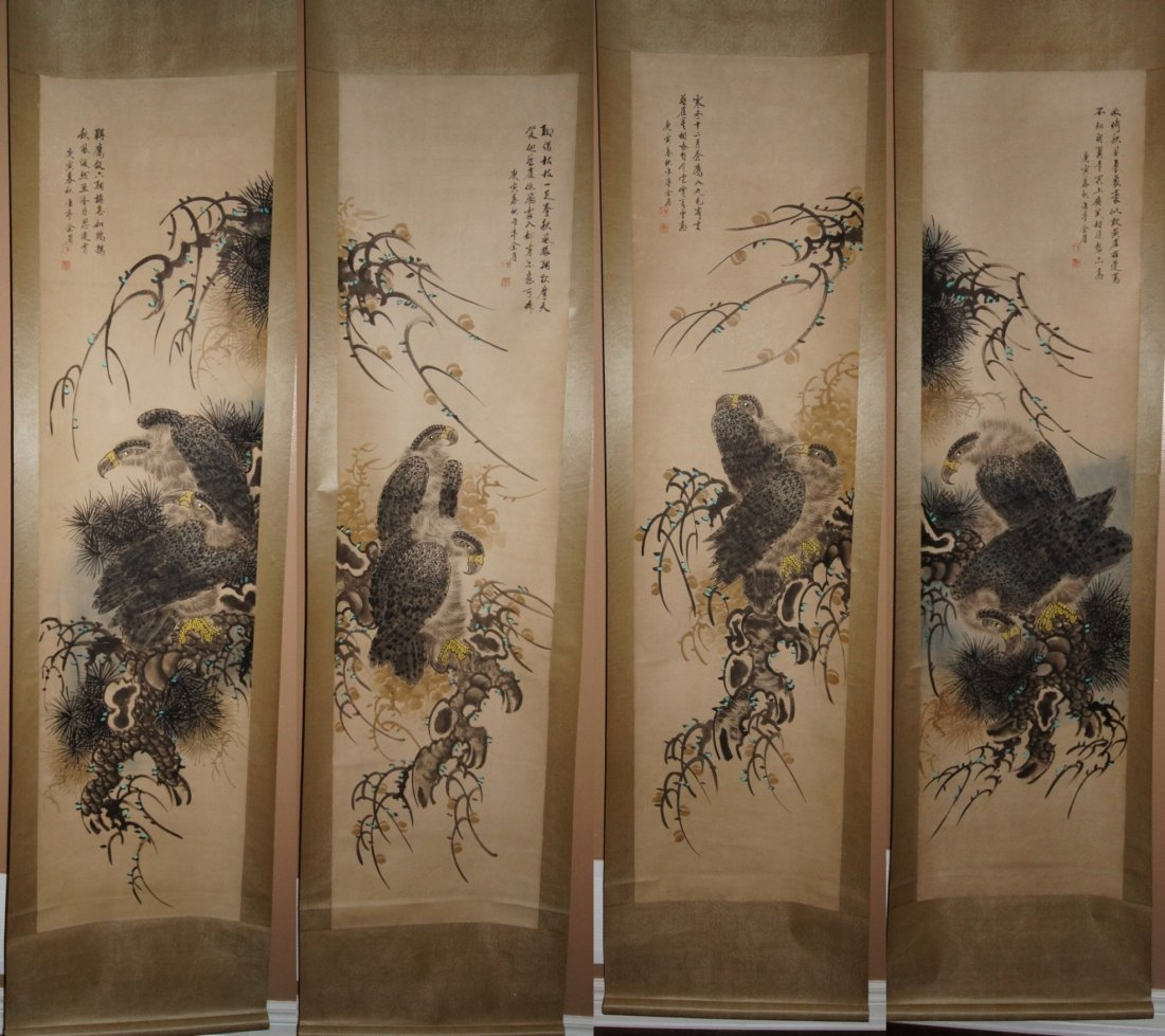 Set of four Chinese brush and watercolor hanging scroll