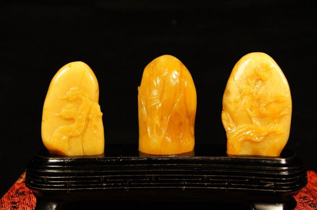 Three Chinese antique Tian-huang boulder