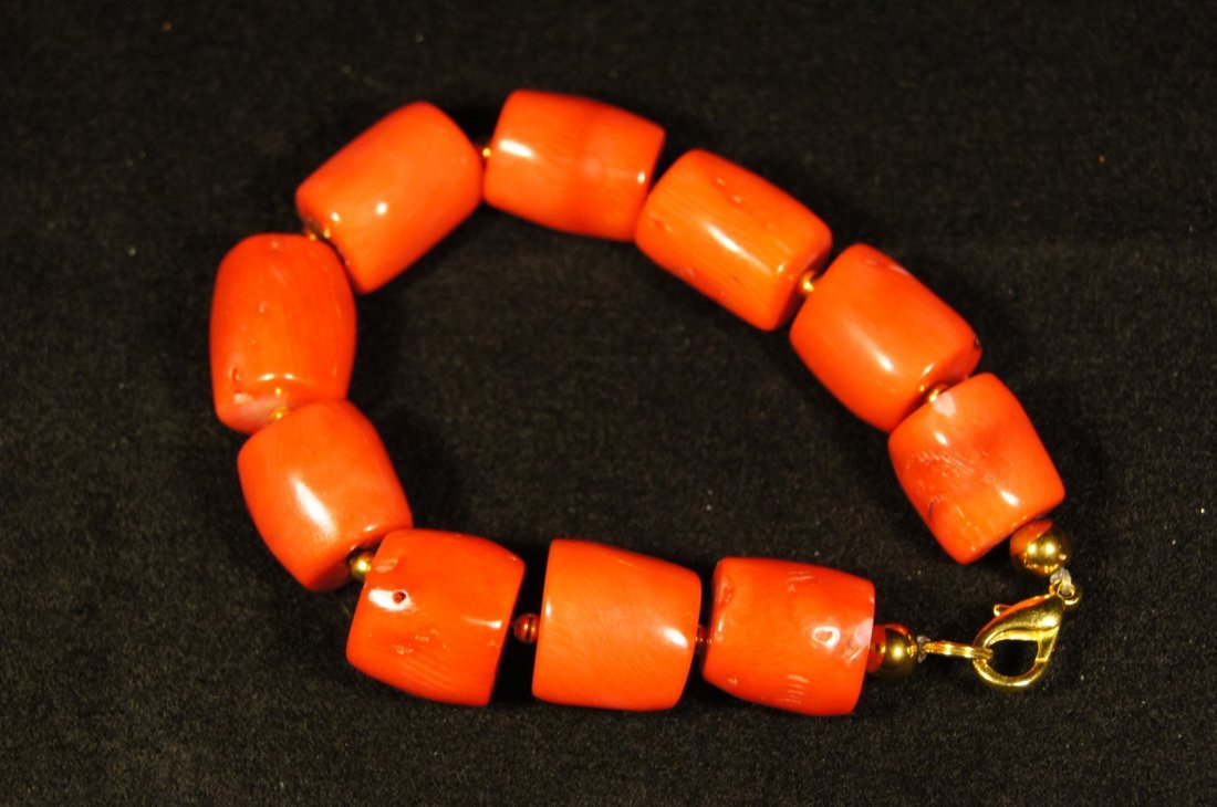 Chinese antique Red coral carved Bracelet