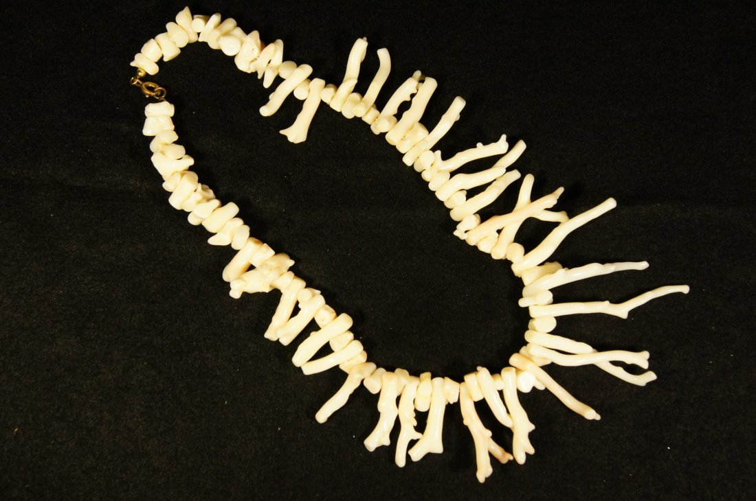 Chinese antique white coral necklace