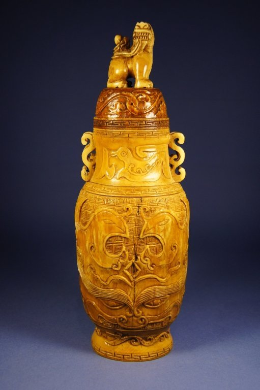 Chinese antique Ivory vase with lid