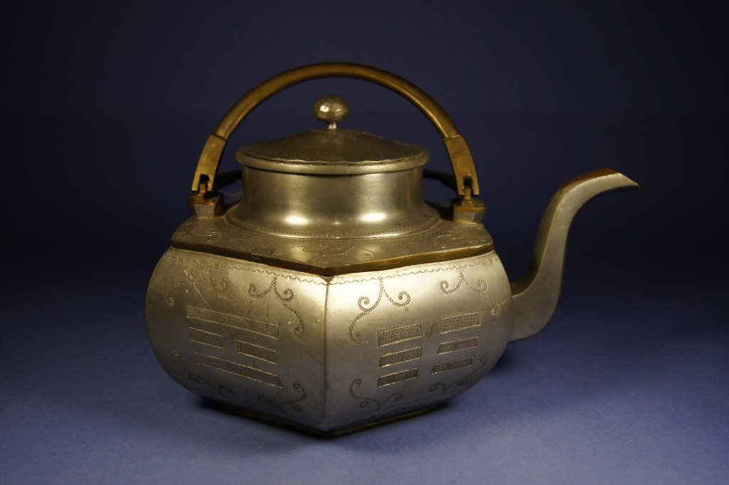 Chinese antique silver tea pot with handle