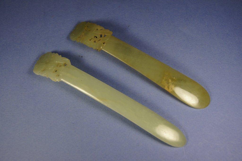 Two of Chinese green jade hair pin