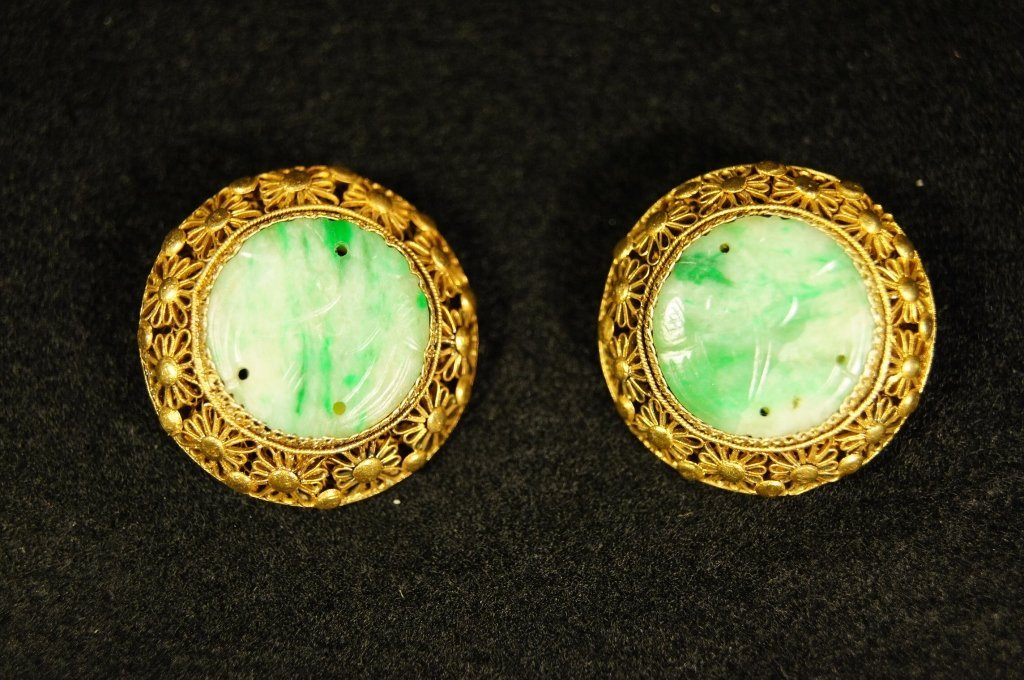 Chinese antque green jade Earring