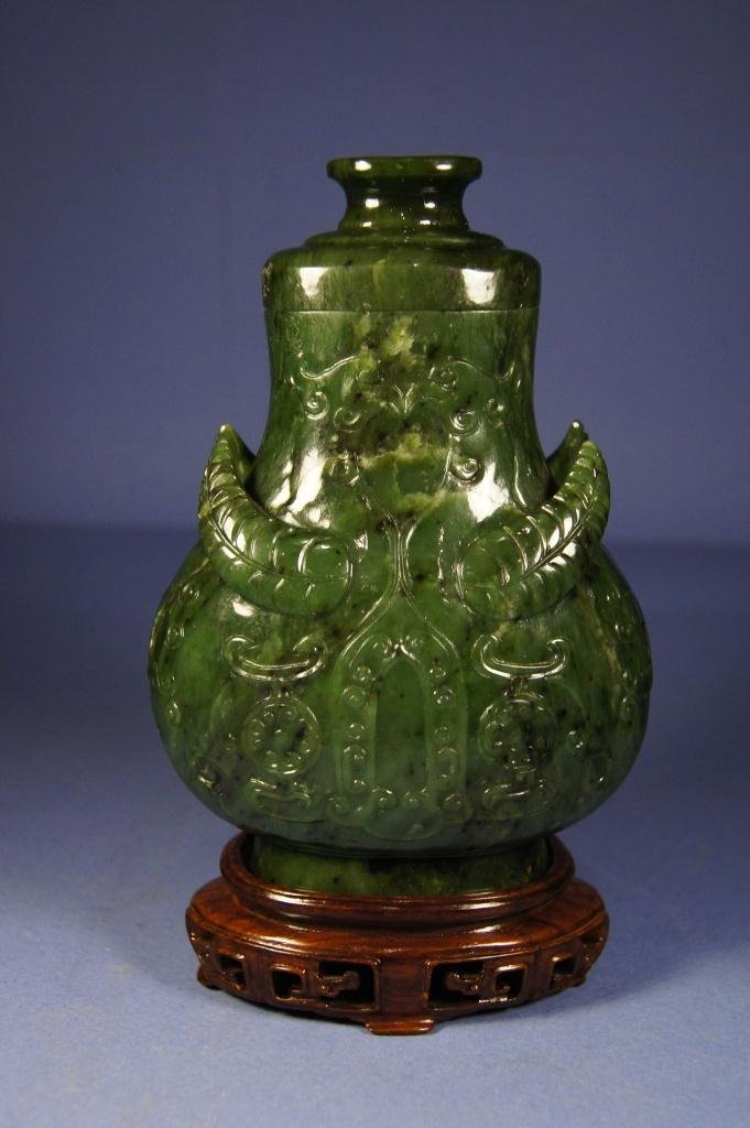 Chinese Qing period spinach green jade bottle