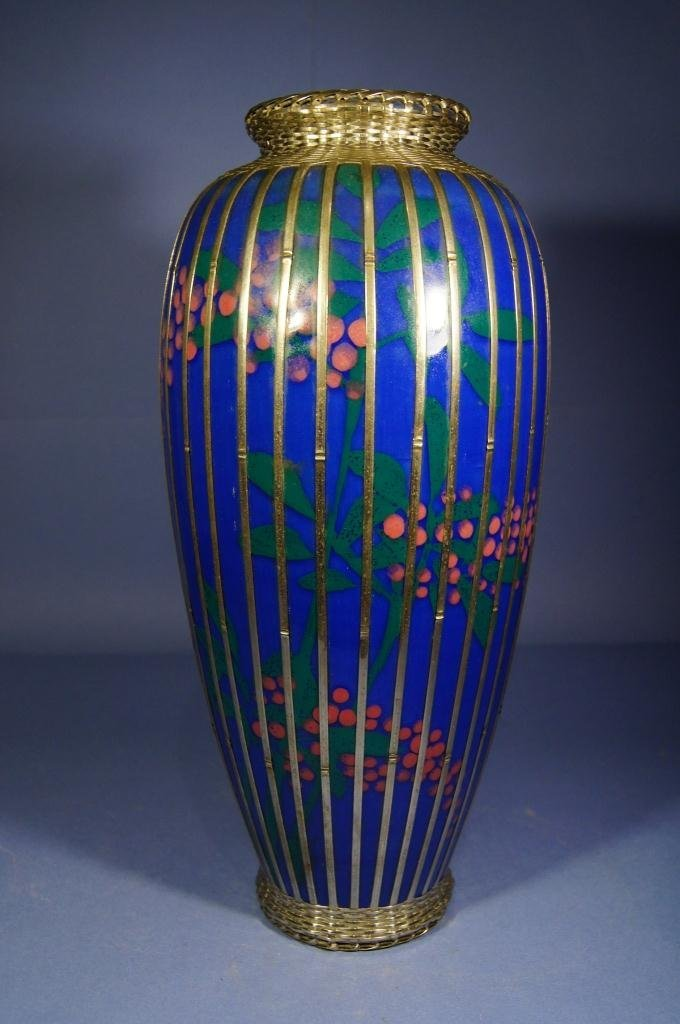 Chinese Export blue vase with inlaid metal line