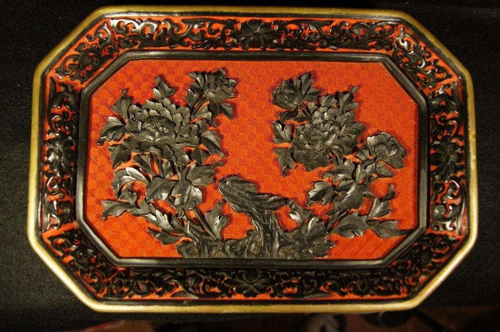 Chinese antique cinnabar carved tray