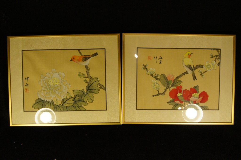 Pair of Chinese antique water color on silk