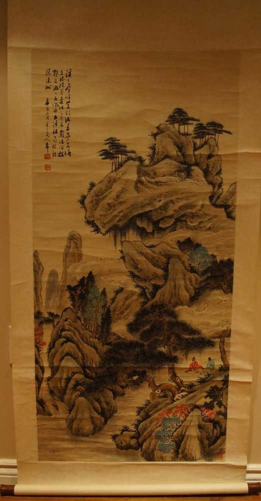 Chen Ban Ding ; Chinese antique watercolor scroll