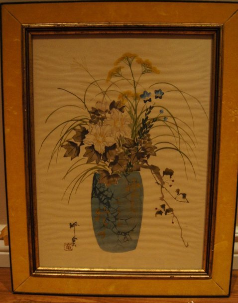 Japanese antique watercolor and Ink on silk