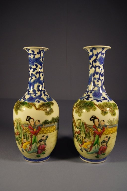 Pair of Chinese porcelain vase, 19th C