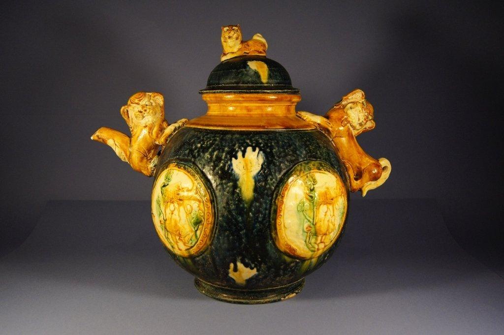 Chinese antique sangcai waterpot, Tang