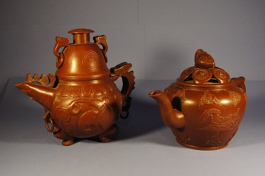 Pair of Chinese antique yixing tea pots