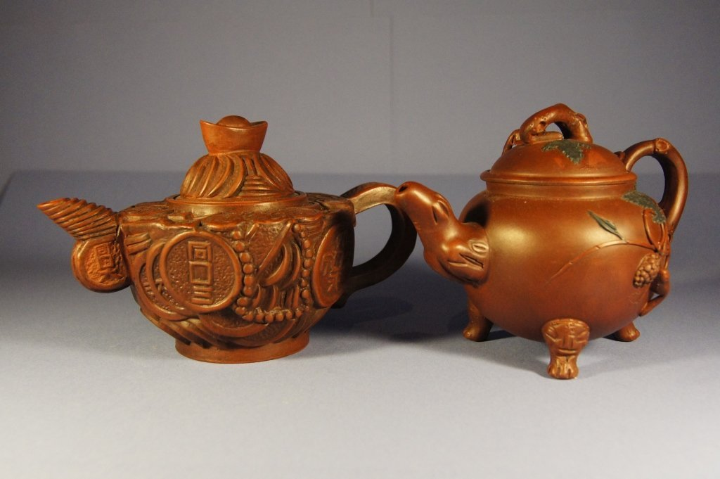 Pair of Chinese antique yixing tea pot