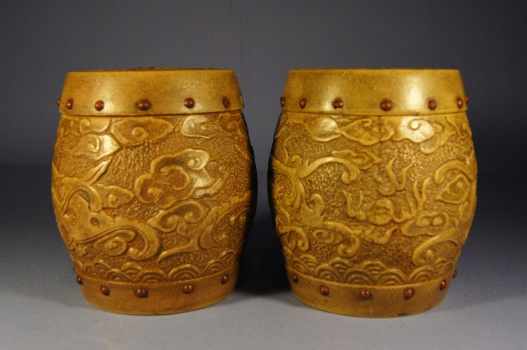 Pair of Chinese antique pottery tea jar with lid