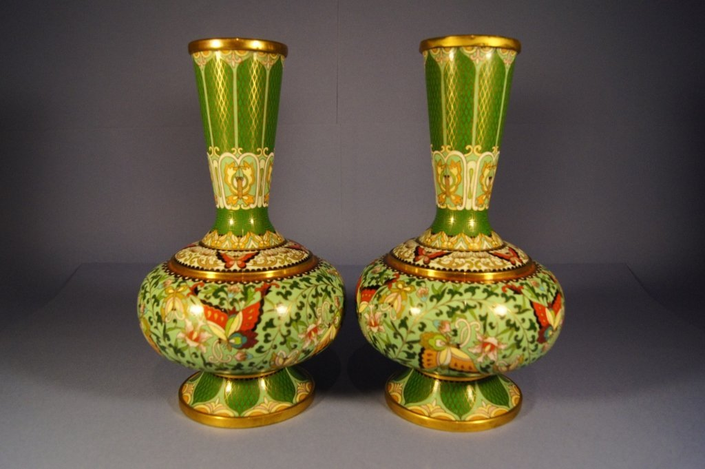 Pair of Chinese antique cloisonne vase